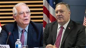 面對日益嚴峻中國挑戰,美國國務卿蓬佩奧(右)23日與歐盟外長波瑞爾(左)正式啟動美歐中國議題對話。(左圖取自twitter.com/JosepBorrellF、右圖取自twitter.com/SecPompeo)