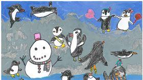 ▲小朋友透過畫筆彩繪出企鵝的生活樣貌。(圖/國立海洋生物博物館提供)