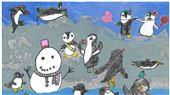小朋友在海生館畫下心中最可愛的企鵝