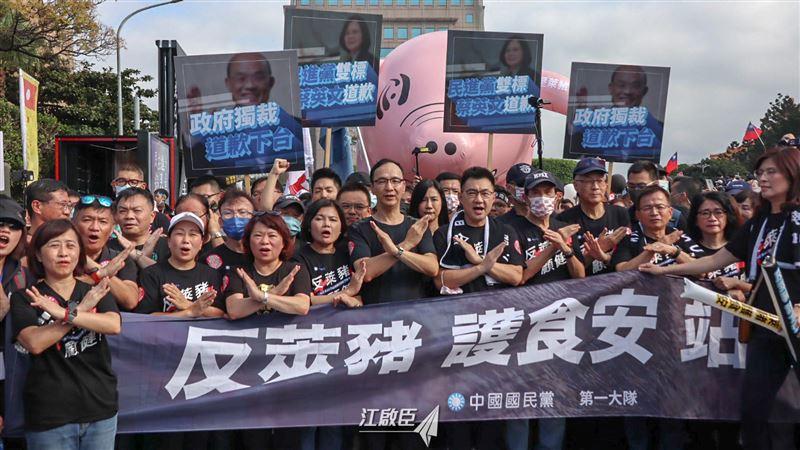怒了!國民黨「粉紅豬」亂入秋鬥 工會看破手腳:洗白作秀