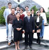 楊烈、路斯明、范宸菲、楊小黎、蔣偉文出席「國際橋牌社2」開鏡。(記者邱榮吉/攝影)