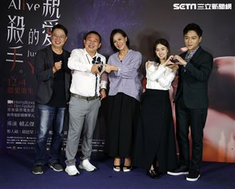 「親愛的殺手」導演賴孟傑、演員鄭人碩、邱偲琹、鄭志偉、黃采儀。(記者邱榮吉/攝影)