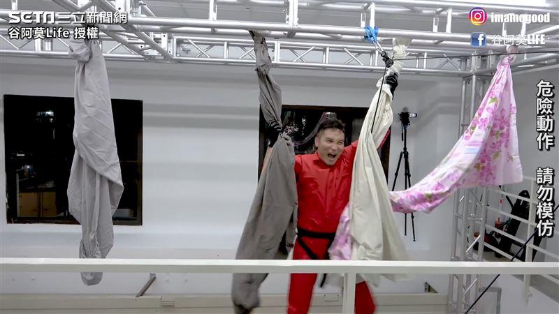 挑戰電影逃脫術 狂男實測用床單垂降
