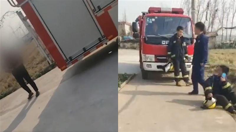 門口被停消防車!大媽嫌不吉利「索討87元」 消防員報警