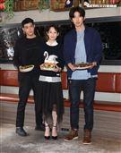 王柏傑、簡嫚書、傅孟柏、奚岳隆出席台灣首部美食結合警匪動作的影集「美食無間」卡司發佈會。(記者邱榮吉/攝影)