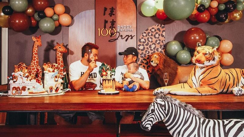 陳鎮川小孩百日宴 巧手打造動物叢林