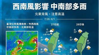 烟花走西南風來了 一圖看懂下週天氣